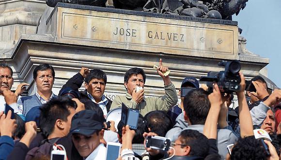 Pedro Castillo en la Plaza Dos de Mayo, septiembre de 2017