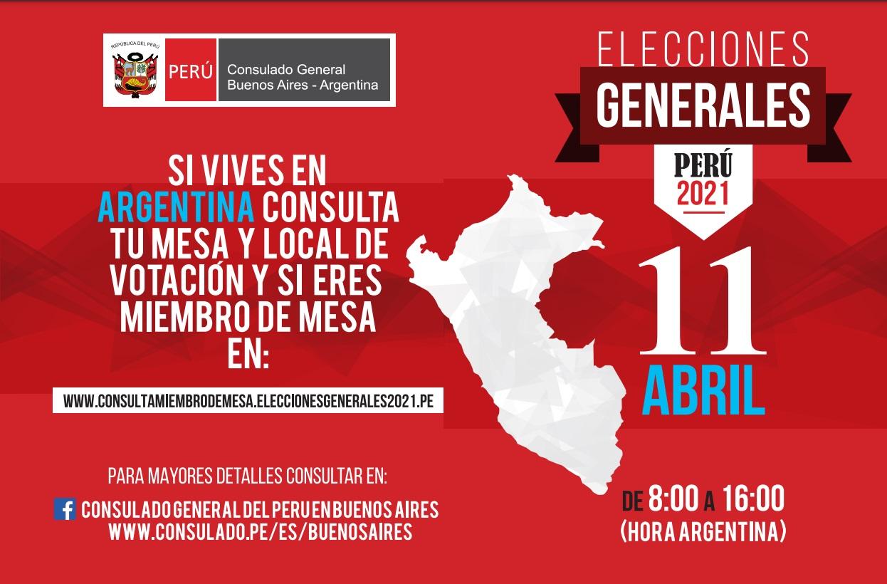 Elecciones en Perú - Lugares de votación en Argentina