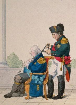 Napoleón y Luis XVIII Francia París 1815