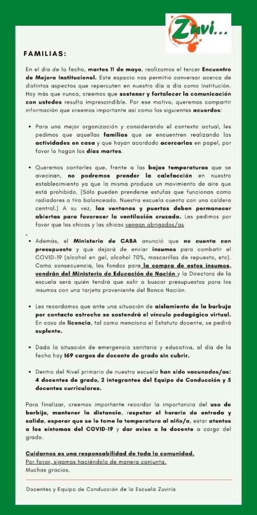 Comunicado de escuela Zuviría sobre recorte de Larreta
