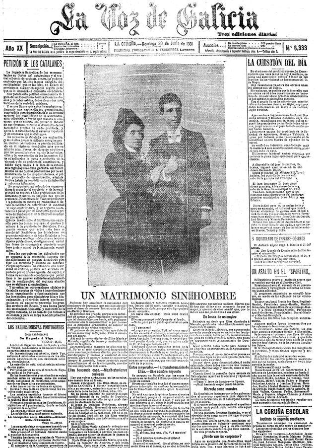 Portada de La Voz de Galicia del 30 de junio de 1901.