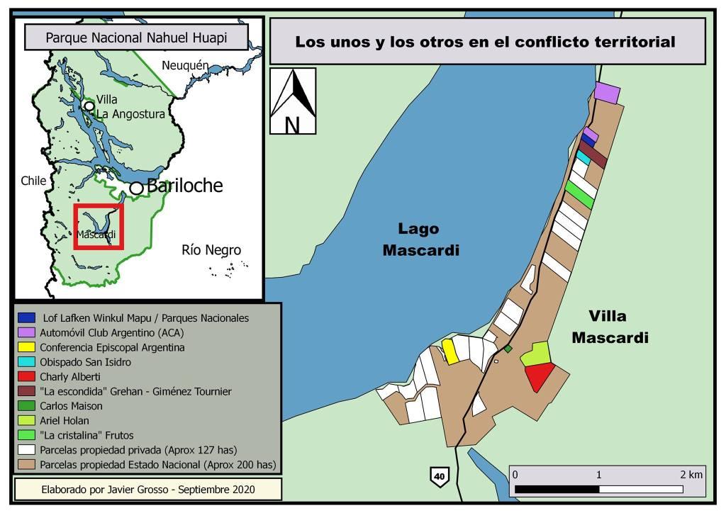 Mapa de conflicto de tierras en el Mascardi